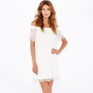 TOPSHOP White Lace Bardot Dress